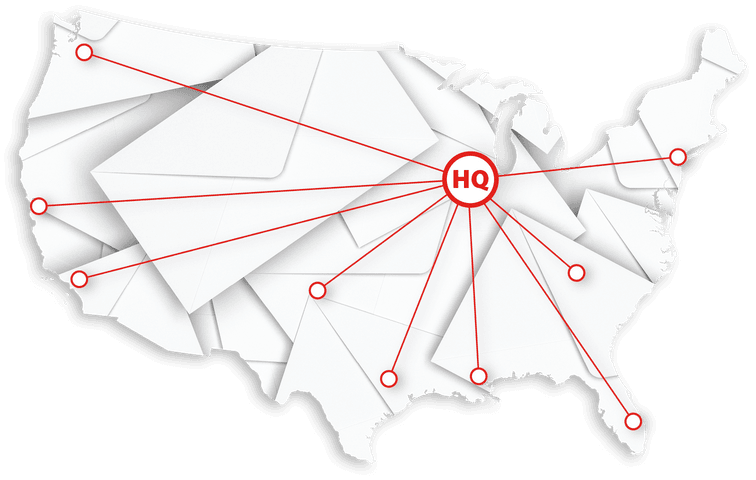 Shape of the US overlaid a stack of envelopes with a red HQ shape connected to a number of states