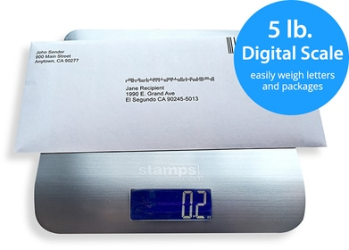 5 Pound Digital Scale With Envelope On Top Of It