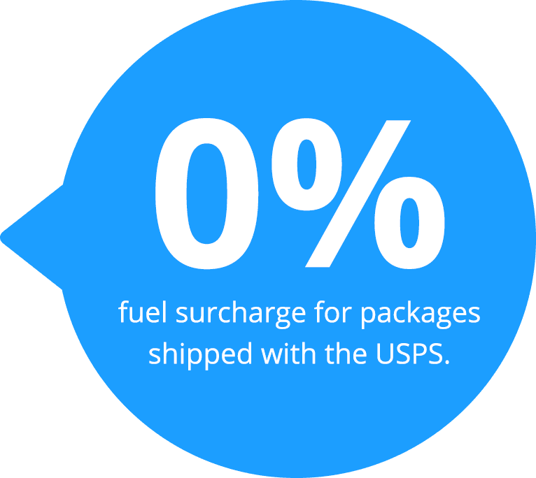 0% fuel surcharge for packages shipped with the USPS.