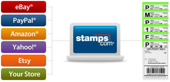A laptop computer with the Stamps.com logo on it in the middle, with a list of stores to the left and a list of shipping labels to the right