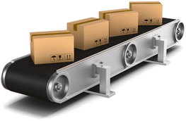 Packages on conveyor belt