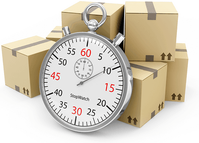 Stopwatch in foreground, shipping boxes in background