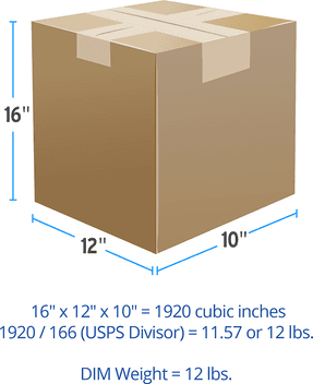 Package with dimensional measurements