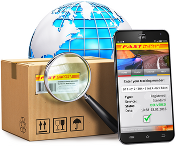 A globe with a package for shipping, a magnifying glass, and smartphone in front of it
