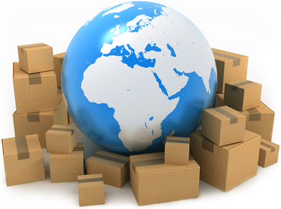 A globe surrounded by shipping boxes.