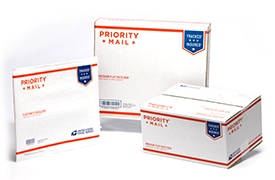 Examples of Free Priority Mail  Shipping Boxes Available from USPS