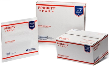 To ship these boxes, you have to buy the corresponding kind of Flat Rate® postage by specifying the exact type of packaging you're shipping when you're creating a label. Flat Rate® is convenient, since you don't need to worry about the size or weight of the box but that convenience comes at a price.