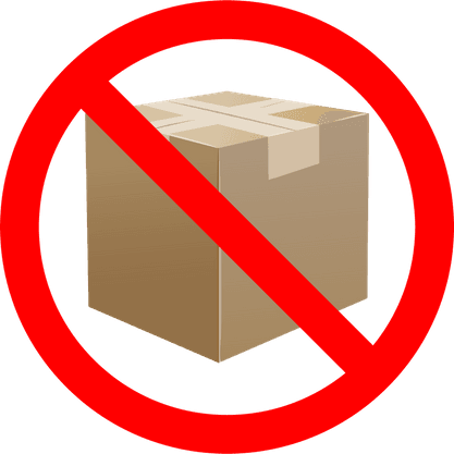 A restriction icon set atop a shipping package.
