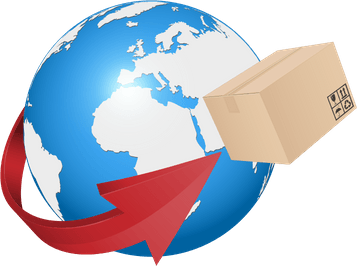 Globe with package orbiting it